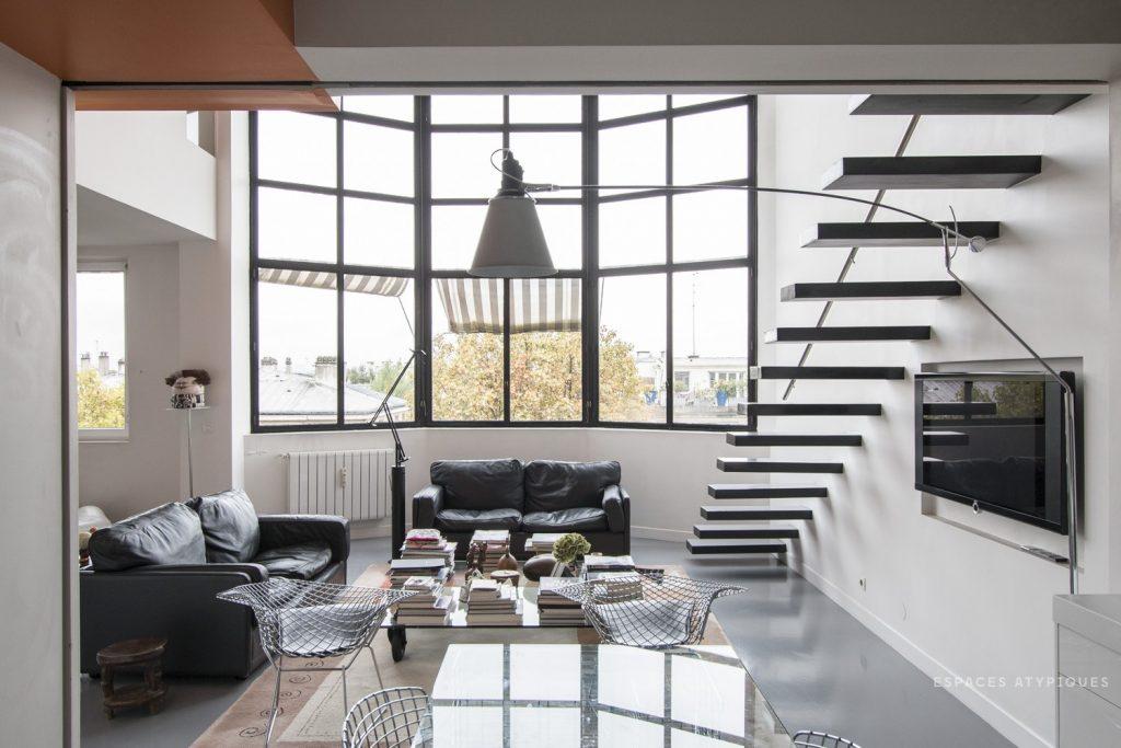 Duplex d'architecte dans immeuble Art Déco